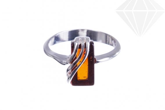 kolok.ro-Inel argint 925 cu o piatră dreptunghiulară de chihlimbar coniac, 7-KDUK227-30