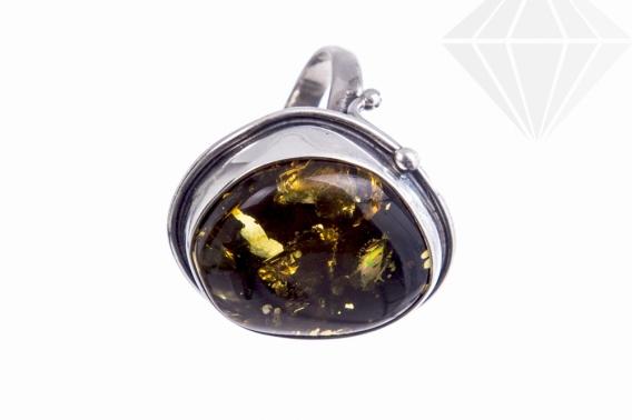 kolok.ro-Inel unicat din argint cu piatră de chihlimbar verde,7.5-KDUK256-30