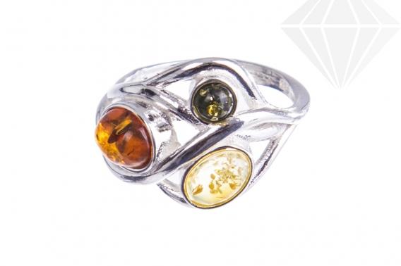 kolok.ro-Inel argint model încrucișat cu chihlimbar multicolor, 7.5-KDUK232-30