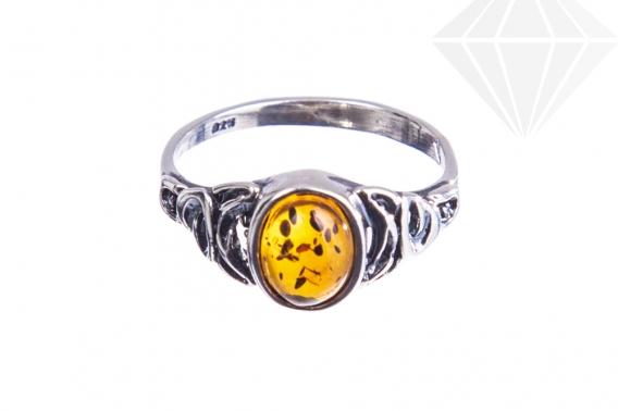 kolok.ro-Inel argint în stil vintage cu o piatră de chihlimbar coniac,7-KDUK230-30