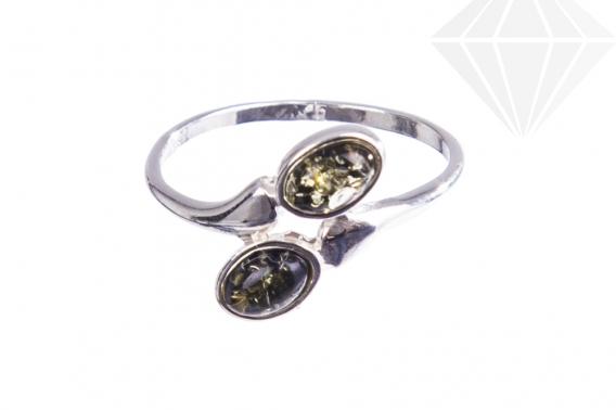 kolok.ro-Inel argint cu pietre ovale de chihlimbar baltic verde-KONFI120-30