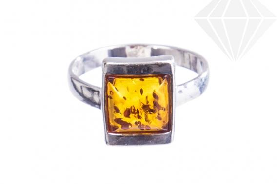 kolok.ro-Inel design din argint cu chihlimbar coniac pătrat-KONFI108-30