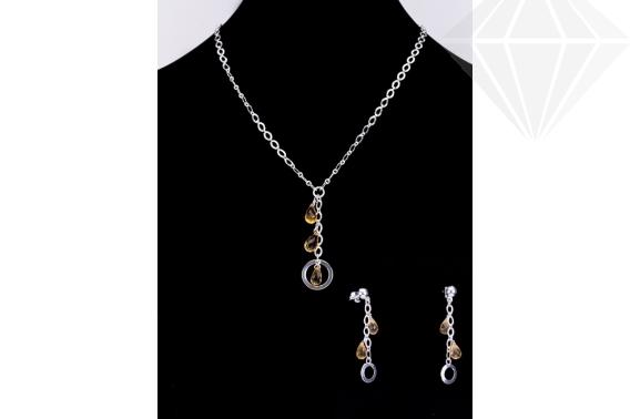 kolok.ro-Set argint cu pietre semiprețioase de citrin fațetat-KDK39-30