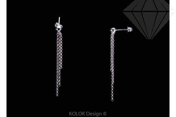 kolok.ro-Cercei franjuri din argint cu trei lănțișoare din argint 925-KDA52-30