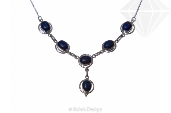kolok.ro-Colier vintage din argint cu pietre ovale de lapis lazuli-KDP47-30