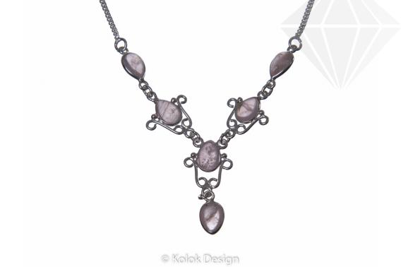 kolok.ro-Colier argint 925 model lalea cu pietre de cuarț roz-KDP73-30