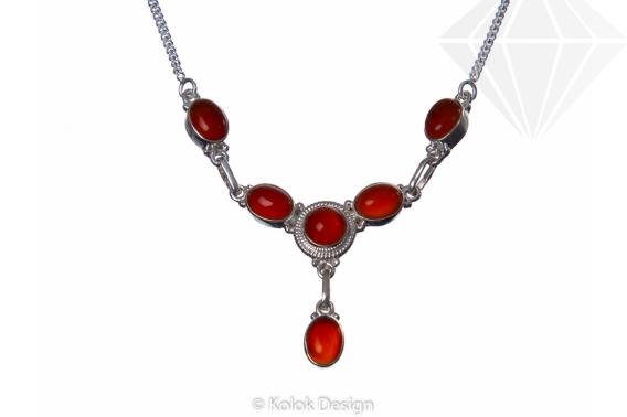 kolok.ro-Colier argint 925 decorat cu pietre de carneol-KDP51-30