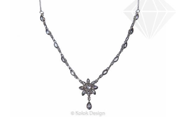 kolok.ro-Colier argint 925 cu pandantiv floare cu topaz incolor-KDP62-30