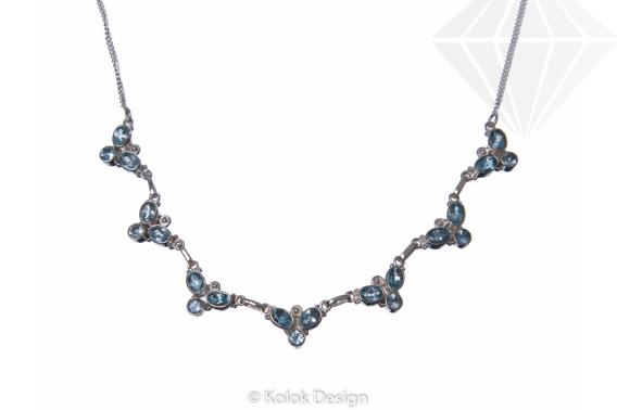 kolok.ro-Colier argint 925 model floricele cu pietre de topaz albastru-KDP57-30