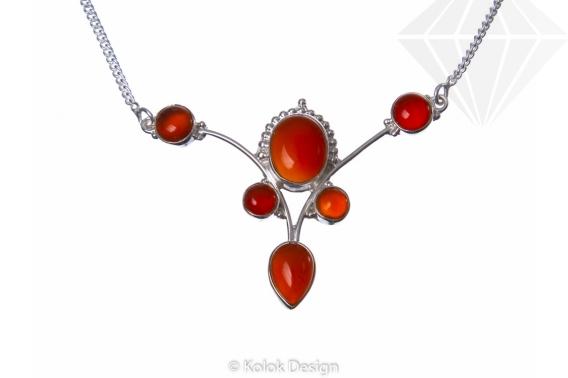 kolok.ro-Colier argint 925 stil vintage cu pietre de carneol-KDP80-30