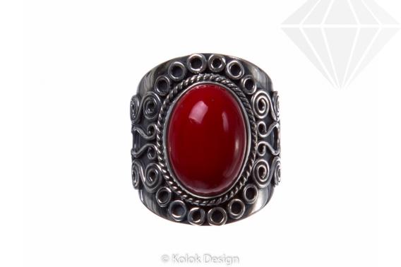 kolok.ro-Inel argint stil vintage cu o piatră ovală de coral roșu-KONFI58-30