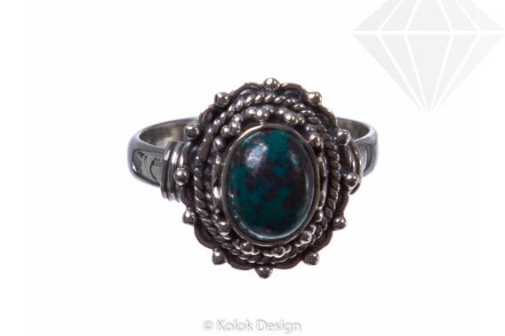 kolok.ro-Inel din argint 925 cu o piatră ovală din crisocola-KONFI55-30