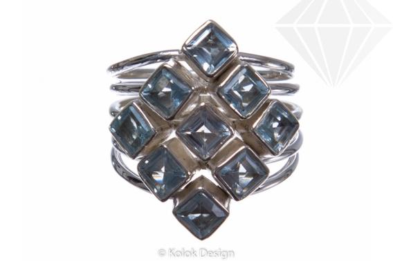 kolok.ro-Inel argint în formă de romb cu pietre de topaz albastru-KONFI77-30