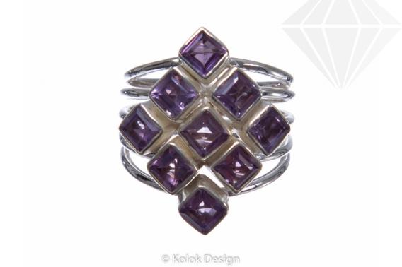 kolok.ro-Inel argint în formă de romb cu pietre de ametist 6-KDP137-30