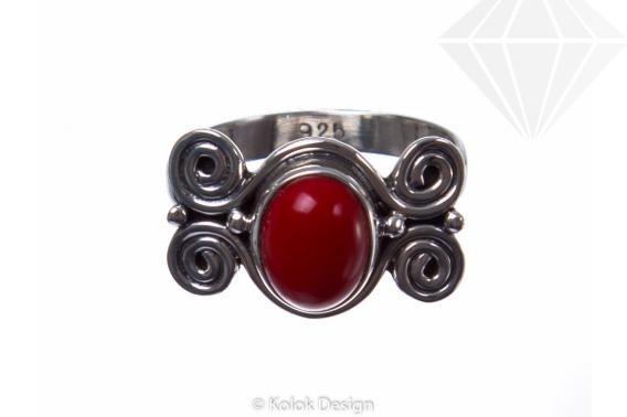 kolok.ro-Inel din argint cu coral model în formă de spirale-KONFI67-30