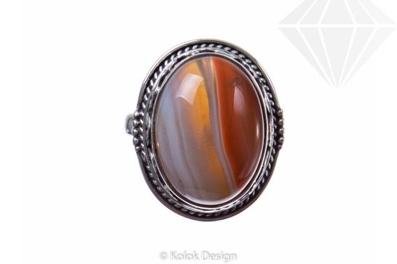 kolok.ro-Inel argint 925 oval cu o piatră mare de agat botswana-KONFI85-30