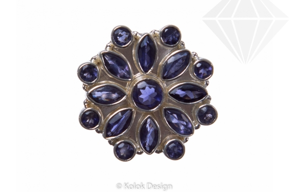 kolok.ro-Inel argint 925 stil oriental cu pietre mici de iolit-KONFI61-30