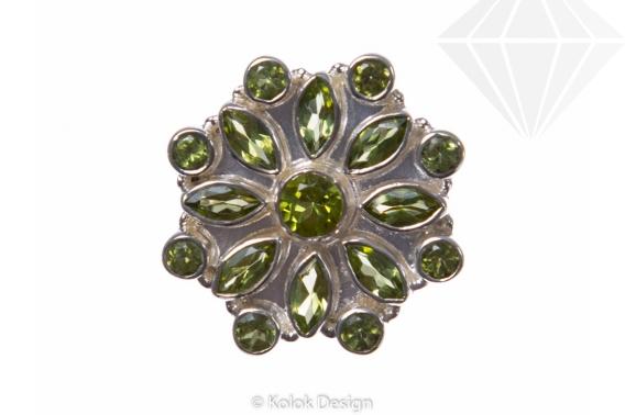 kolok.ro-Inel argint 925 stil oriental cu pietre mici de peridot-KONFI60-30