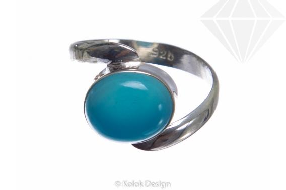 kolok.ro-Inel argint cu o piatră semiprețioasă de calcedonie ovală-KONFI74-30