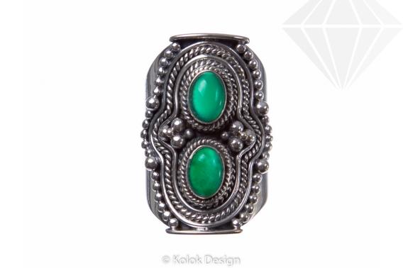 kolok.ro-Inel argint model vintage cu două pietre de onix verde 6-KDP124-30