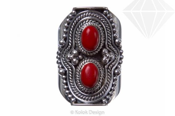 kolok.ro-Inel argint model vintage cu două pietre de coral-KONFI68-30