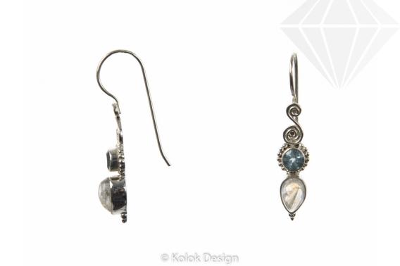 kolok.ro-Cercei argint cu pietre de topaz albastru și piatra lunii-KDP41-30