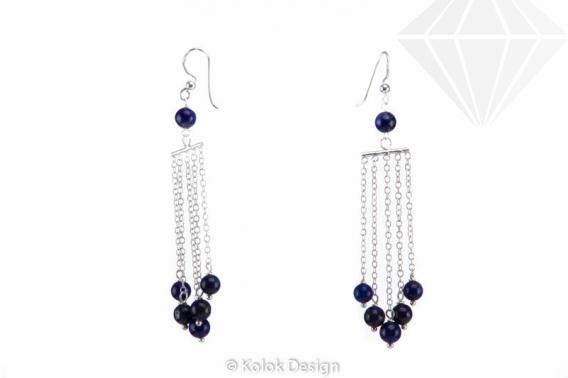 kolok.ro-Cercei lungi cu lănțișor argint 925 cu pietre de lapis lazuli-KDI510-30