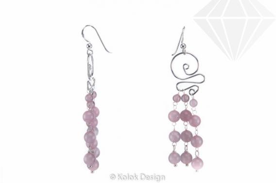 kolok.ro-Cercei candelabru din argint 925 cu pietre de cuarț roz-KDI505-30