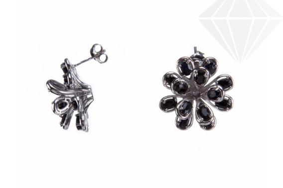 kolok.ro-Cercei floare din argint 925 decorați cu safir negru-KDI519-30