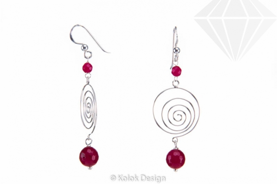 kolok.ro-Cercei spirală din argint cu pietre de agat roz-KDI500-30