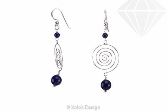 kolok.ro-Cercei spirală din argint cu pietre de lapis lazuli-KDI497-30