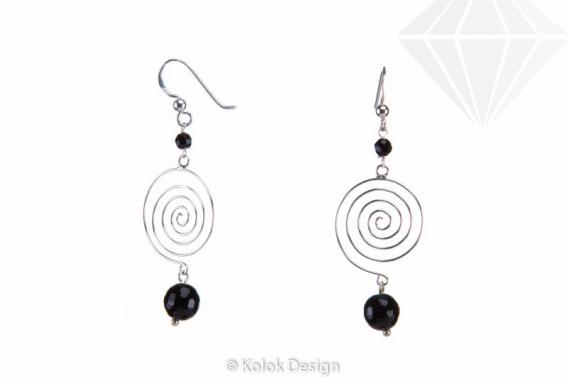kolok.ro-Cercei spirală din argint cu pietre de onix-KDI498-30