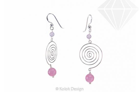 kolok.ro-Cercei spirală din argint cu pietre de cuarț roz-KDI499-30