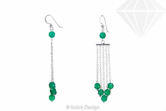 kolok.ro-Cercei lungi cu lănțișor argint 925 cu pietre de agat verde-KDI509-30