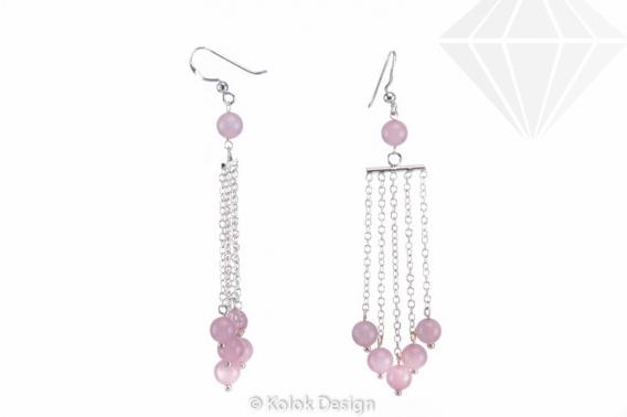 kolok.ro-Cercei lungi cu lănțișor argint 925 cu pietre de cuarț roz-KDI512-30