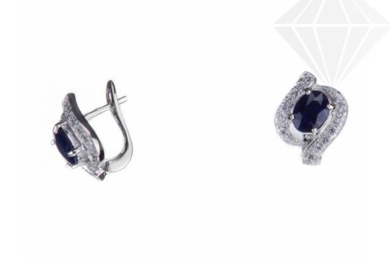 kolok.ro-Cercei argint cu safir albastru și pietre mici de zirconia-KDI522-30