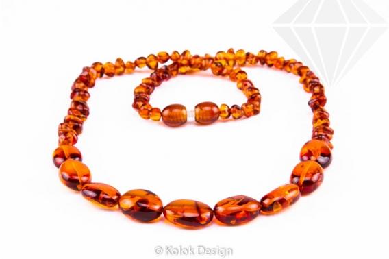 kolok.ro-Colier elegant cu mărgele mici și ovale de chihlimbar coniac-KDX057-30