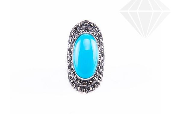 kolok.ro-Inel argint masiv cu o piatră ovală de turcoaz albastru 7-KDI545-30