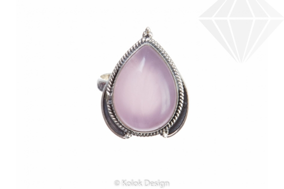 kolok.ro-Inel argint cu o piatră de cuarț roz în formă de picătură 6-KDP86-30