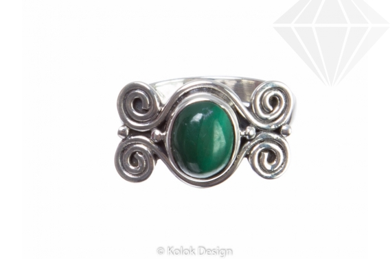 kolok.ro-Inel din argint cu malachit model în formă de spirale 7-KDP119-30