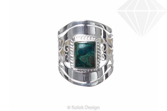 kolok.ro-Inel argint 925 Green Fantasy cu o piatră de crisocola-KONFI57-30