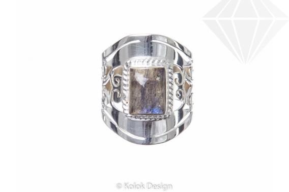 kolok.ro-Inel argint 925 Blue Ice cu o piatră de labradorit-KONFI56-30