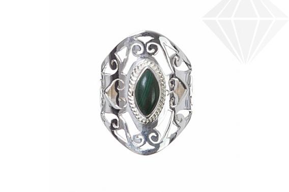 kolok.ro-Inel oriental argint cu o piatră semiprețioasă de malachit 7-KDP148-30