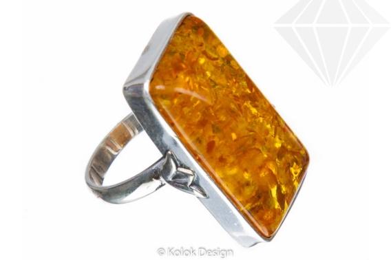kolok.ro-Inel argint unicat cu chihlimbar dreptunghiular miere, 7-KDUK102-30