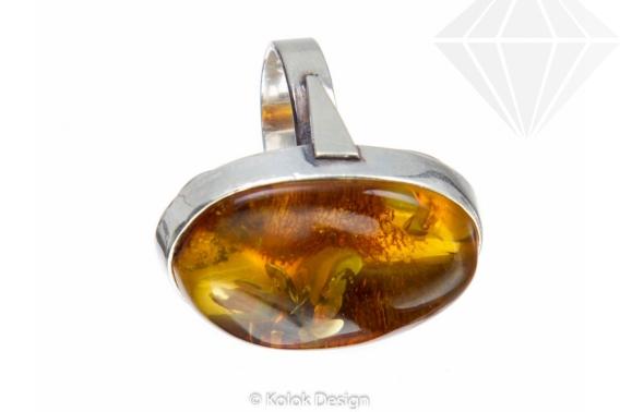 kolok.ro-Inel argint unicat cu piatră de chihlimbar miere autentic,7-KDUK103-30