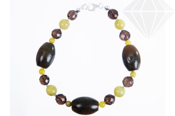 kolok.ro-Brățară din jad olive și cuarț fumuriu-KDK525-30