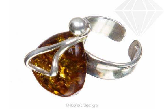 kolok.ro-Inel argint 925 unicat cu piatră de chihlimbar baltic verde-KDUK92-30