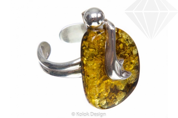 kolok.ro-Inel argint unicat cu o piatră de chihlimbar baltic verde-KDUK104-30
