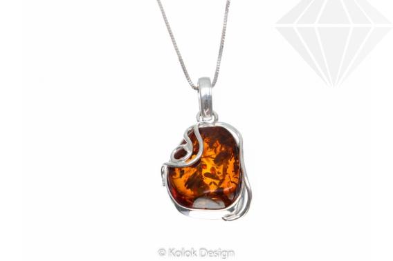 kolok.ro-Pandant argint unicat în formă abstractă cu chihlimbar coniac-KDUK129-30