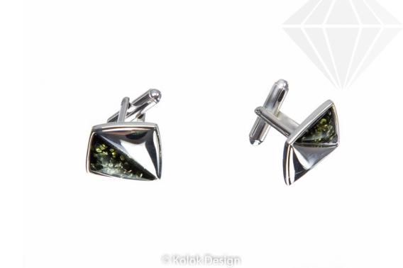 kolok.ro-Butoni pătrați argint cu pietre de chihlimbar verde-KDUK31-30